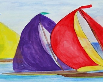 Colorful Sails nautical sailboats Beach Towel from my art