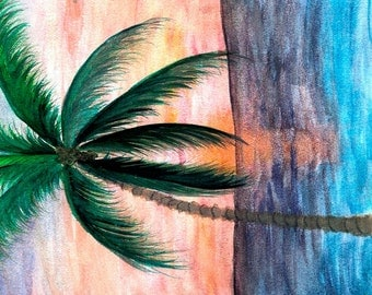 Sunset Palm tree Beach, Bath or Hand Towel from my art