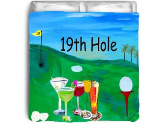 19th Hole Golf comforter from my art