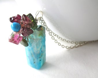 Tourmaline flower necklace, wire wrapped blue agate gemstone and genuine pink and green tourmaline flower pendant necklace