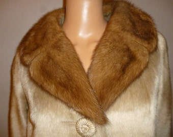 BLONDES Have More Fun - Vintage 50's - Mink Collar - Blonde Faux Fur - Mod - Trapeze -  Swing - Coat - by Brazotta - bust: 45""