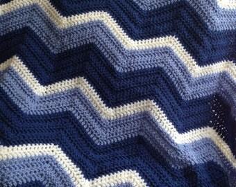 new chevron zig zag ripple baby blanket afghan wrap crochet knit wheelchair stripes VANNA WHITE yarn blue white boy handmade in USA