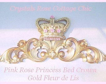 Shabby Pink Rose Princess Bed Crown Canopy Fleur De Lis Personalized Name Or Word