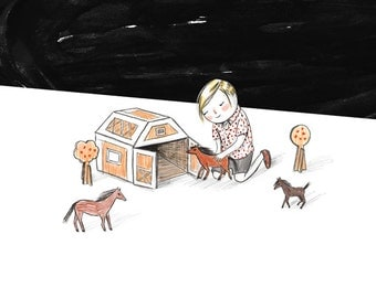 And with just a bit of cardboard and a spot of tape, his family of horses finally had a place to call home