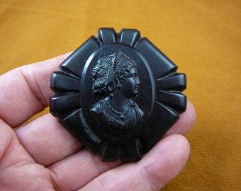 Vintage Woman wearing tiara Bakelite black mourning diamond shaped CAMEO pin brooch c1556