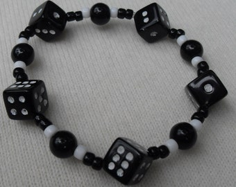 Bracelet Black and White Dice and Beads Stretch Good Luck