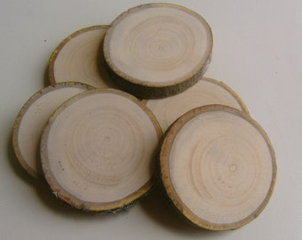 40 Light Wooden Tree Branch Rounds Tree Cookie 1.5-2 inch