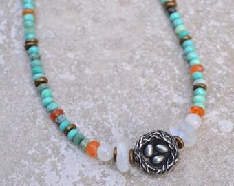 Opal bird nest necklace