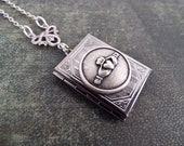Celtic Book of Love - American Pewter Claddagh and Gunmetal Book Locket Necklace