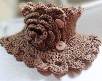 Knit neckwarmer collar, coffee with milk  neckwarmer scarf