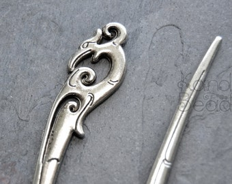 2 Dragon, Phoenix, Claw Motif, Antique Silver Color Metal Spike, pendant, hairpin, book mark, bead 14x93x2mm