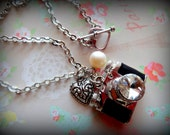 Vintage Camera Necklace with Fresh Water Pearl. The Photo Enthusiast. Silver Tone.