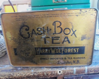 SALE - Primitive Antique Cash Box Tea Tin from Rustysecrets