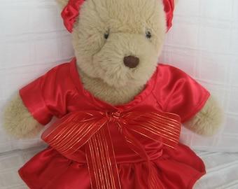 Teddy Bear Clothes, Ruby Satin Dress & Headband