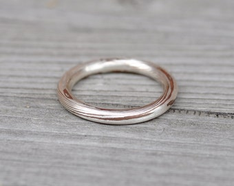 silver and copper mokume gane ring.