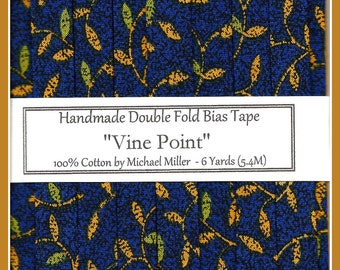 6 Yards (5.4M) Handmade Double fold BIAS Tape - Navy Vine Point from Michael Miller