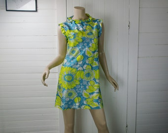 60's Floral Mini Dress in Lime Green & Blue- Mod Twiggy Shift Dress with Ruffles- Small- 1960's
