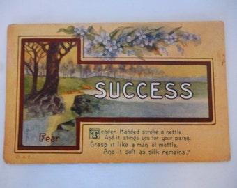 Antique Postcard, Success, Inspirational, 1910s