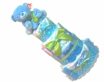 Diaper Cake boy Baby Shower Diaper Cake. Baby Boy. Blue. Stuffed Animal. Baby shower gift Baby Shower Decoration. Boy Diaper Cakes