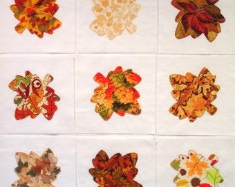 Maple Leaves Appliqued Quilt Blocks