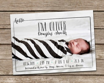 Birth Announcement : Hello Oliver Baby Boy Custom Photo Birth Announcement