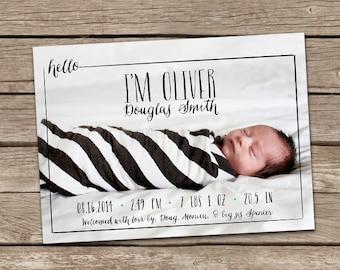 Birth Announcement : Hello Oliver Baby Boy Custom Photo Birth Announcement