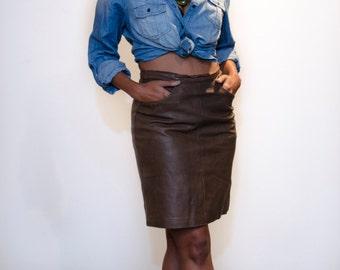80's Butter Soft Leather Aviator Skirt/ Sz Small