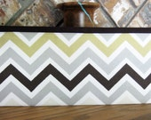 Brown, Gray and Gold Chevron Stripe Service Tract Holder