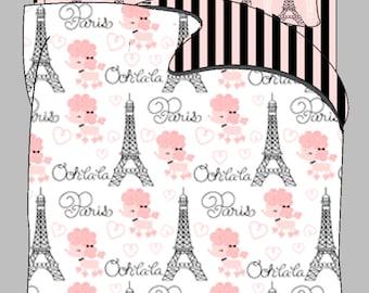 Custom Ooh-La-La Paris Poodle Duvet Cover and Shams-Available Tw-FQu-King Sizes