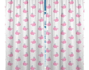 Custom Window Curtain, Pink Whales - Any Size - Any Colors - Any Pattern