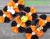 Set of THReE Embellished GRoSGRAiN CLuSTeR Flowers- HaLLoWEEN ASSoRTMeNT A- 4 inch Size