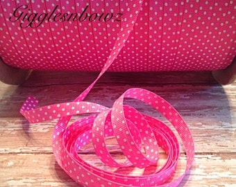 GRoSGRAiN RiBBON- 3/8 inch HoT PiNK SWiSS Dot OFFRAY Grosgrain Ribbon 5 yards- DoTS on BoTH SiDES