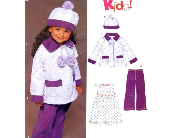Girls Sewing Pattern Empire Dress Coat Hat Pants New Look 6447 Jumper Toddler Size 1/2 1 2 3 4