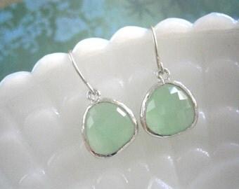 Fluorite Green Earrings, Silver Earrings, Best Friend Birthday, Bridesmaid Earrings, Wife Gift, Mom Gift