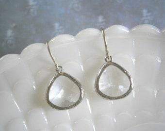 Crystal Clear Earrings, Silver Framed Glass, Silver Kidney Earrings