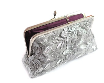 Silver and Purple Wedding Purse Clutch Lace Large Size Modern Bridal  Ready to Ship