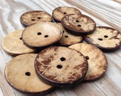 Large coconut shell buttons, 38mm, natural coconut wood, 10 matching big buttons, perfect for sweaters, scarves, knitting, A053