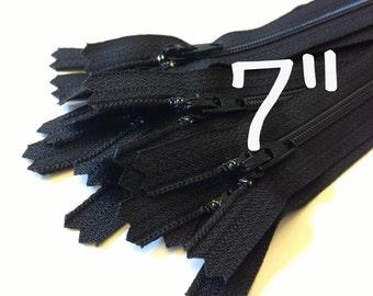 7 Inch black YKK zippers, Ten pcs, YKK color 580, dress, skirt, pouch zippers