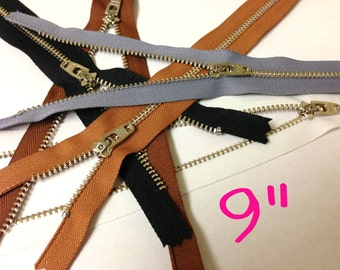 Silver teeth zippers wholesale, 9 inch metal zippers, FIVE pcs, nickel zippers with locking slider, black, brown, grey, white