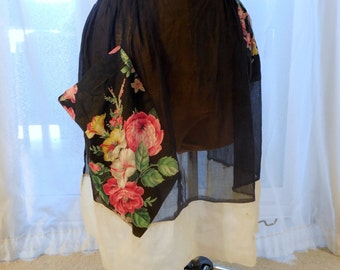 vintage apron in Black Cotton sheer, 1950s, housewife