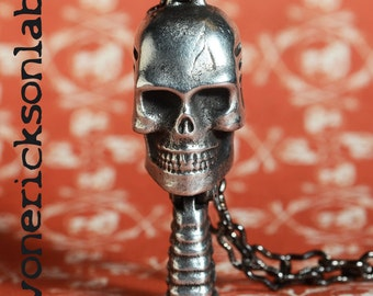 Large Skull Microphone Charm Necklace