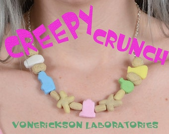 Creepy Crunch Cereal Necklace - Creepy Cute -Stitches and pink tombstone Mix