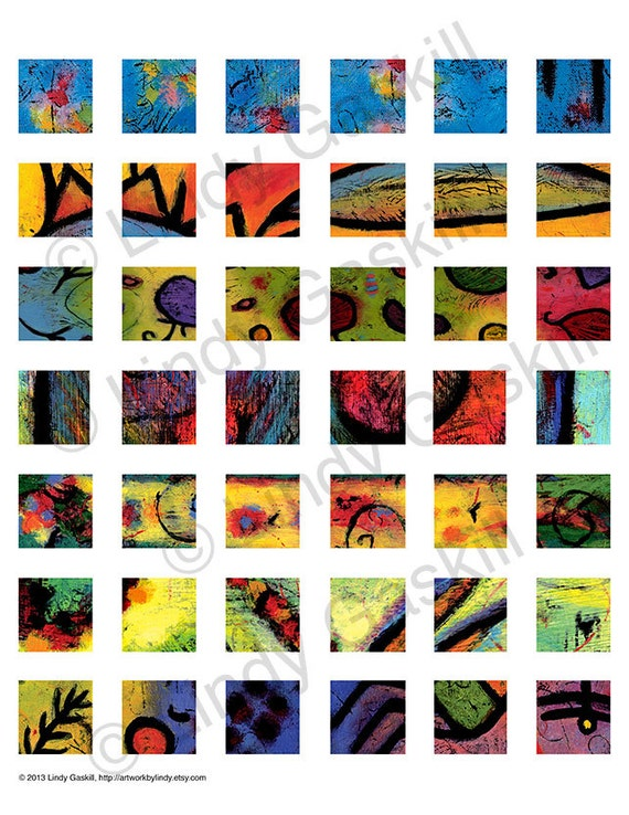 Colorful Art Patterns Digital Collage Sheet, 42 1x1 inch Fine Art Print images, Download and Print