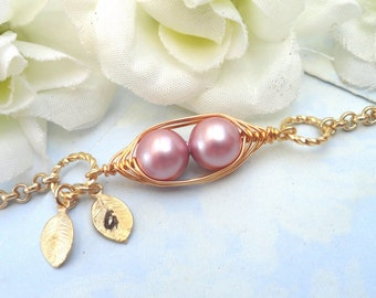 Sweet 2 Peas In A Pod Gold Bracelet 2,3 Or 4 Swarovski Pearls Choose Your Color Or Beads. Ideal Gift For Mom