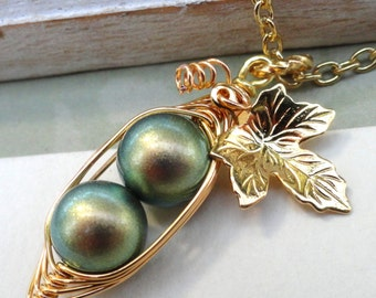 Two Peas in a Pod Pendant Necklace for Two Special People in iridescent Green 8mm Swarovski Pearls. For Brides,Friends,Sisters And Mothers.