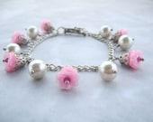 Pearl Jewelry, Bridesmaid jewelry, Bidesmaid Gift, Pink Bracelet, Pink Jewelry, Pearl Charm Bracelet, Rose Bracelet, Wedding Jewelry