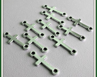 Cross Charms Tibetan silver 2 hole connector charms 10 pieces Item 1021