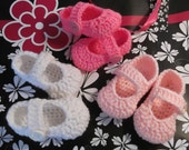 Crochet Mary Jane Style Baby Shoes - available in sizes 3 months to 1 yr