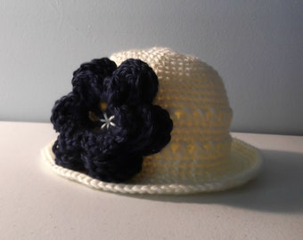 Sun Hat with Large Three Tier Flower - 3-6 mo baby - flower color choices - ready to ship