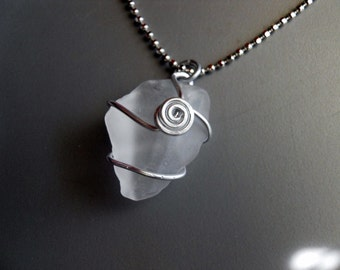 White Frosty Sea Glass Faux Rock Crystal Pendant Necklace, Silver Aluminum Wire Wrapped
